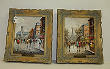 A. Divity , Pair paris street scenes oil on board in