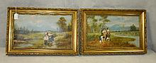 Pair 19th C Oil on canvas paintings of woman with