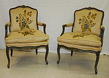 Pair 19th c French painted and carved wood arm chairs .