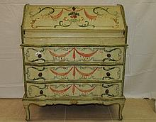 Italian painted slant front 3 drawer secretary desk.