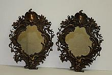 Pair antique bronze wall mirrors. H:17