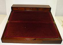 19th C Large English mahogany lap desk. Size closed