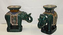 Pair antique Chinese painted and glazed terracotta