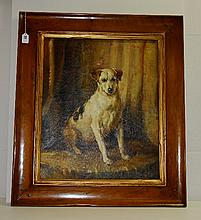 Oil on canvas of dog signed lower right in a wood