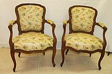 Pair 19th C French painted arm chairs. H:34