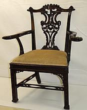 19th C Mahogany Irish Chipandale arm chair. H:40