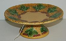 19th C English majolica compote. H:3.75