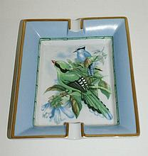 Hermes porcelain hand painted ashtray. L:7.5