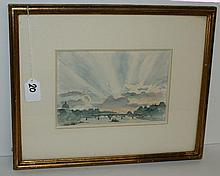 19th C framed watercolor. Site size H:5.75
