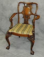 19th C carved arm chair with figural bearded man legs