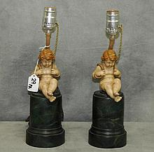 Pair antique carved and painted wood figural lamps of