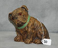 19th c terrecotta dog with glass eyes. H:7