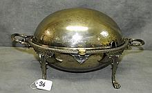 19th c Silver plate dome covered warming dish raised on