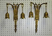 Pair 19th C Bronze 2 light wall sconces. H:14.5
