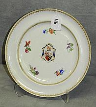 China Trade plate with crest design. D:9.75