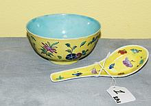 Chinese porcelain Famille Juno bowl and spoon. D:4. 5