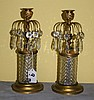 Pair Baccarat style single light candle sticks. H:10