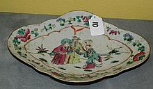 Chinese 19th C porcelain footed plate. L:10. 5