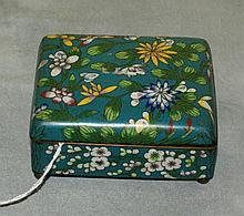Chinese cloisonne hinged covered box marked china on