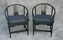 Pair Chinese bamboo style green painted armchairs.