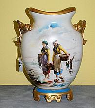 19th C Old Paris porcelain painted 2 handle vase.
