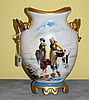19th C Old Paris porcelain painted 2 handle vase.