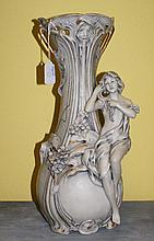 Large Royal Dux figural vase of a woman with a person