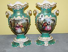 Pair 19th c Old Paris painted porcelain vases marked JP