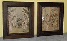 Pair 19th c Chinese paintings on silk. Overall size