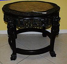 Very Large 19th C Chinese carved wood and marble top