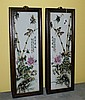 Pair antique chinese porcelain painted wall plaques