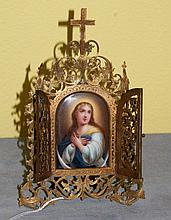 19th C Bronze framed porcelain painted plaque of
