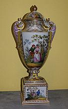 19th C Royal Vienna porcelain covered fase on matching
