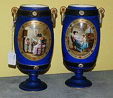 Pair 19th c Old Paris porcelain painted vases. H:10