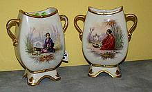 Pair Old Paris orientalist painted vases circa 1842.