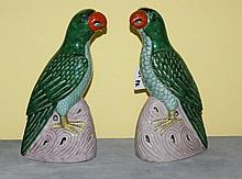Pair 19th C Chinese porcelain birds. H:10