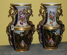 Pair 19th C Old Paris porcelain gilt and painted vases.