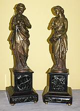 Pair 19th c Bronze figures on marble bases signed
