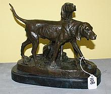 Bronze figural group of dogs on a marble base and