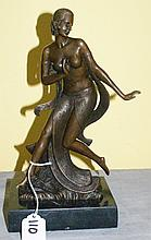 Bronze art nouveau statue of a partially nude female