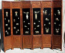 19th C Chinese 6 panel jade mounted wood screen