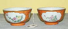 Pair 19th C Chinese porcelain bowls