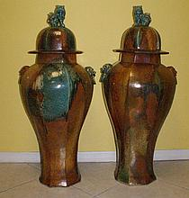Pair Chinese palace size glazed porcelain temple jars