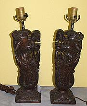 Pair antique carved wood figural lamps