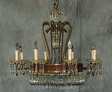 French bronze and crystal 8 light chandelier