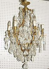 19th c French bronze and crystal 8 light chandelier