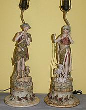 Pair Royal Dux figural lamps