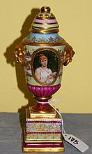 19th C Royal Vienna porcelain covered urn