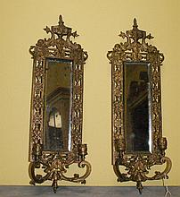 Pair Bronze 2 light mirrored wall sconces
