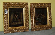 Pair 19th C oil on canvas in carved giltwood frames